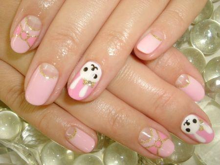 unhas decoradas de coelhinho com lacinho rosa